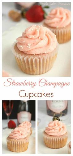These Strawberry Champagne Cupcakes are the perfect celebration dessert! Whether you're romancing your sweetheart on Valentines Day, Ringing in the New Year or getting ready to tie the knot! Pink Champagne Cupcakes, Strawberry Champagne, Cocktail Cupcakes, Gourmet Cupcakes, Cheesecake Cupcakes, Mocha Cupcakes, Velvet Cupcakes, Vanilla Cupcakes, Banana Cupcakes