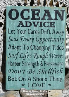 Beach Wedding Sign  Beach Decor  Beach House  Ocean Advice Hand Painted Wood Sign by CarovaBeachCrafts,
