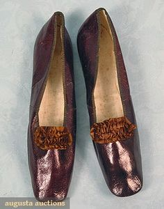 Augusta Auctions, March/April 2005 Vintage Clothing & Textile Auction, Lot 322: Lady's Leather Shoes, 1830-1840s