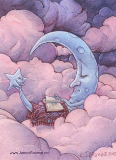 Once Upon a Time Moon Greeting Card por brownieman en Etsy, $2,75