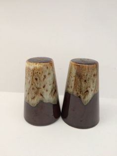 Canonsburg Brown Drip Ironstone Salt and Pepper Shakers Made In The USA