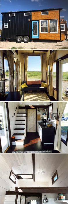 This modern tiny house with huge picture window is the Texas Style by Incredible Tiny Homes. The house has a mix of of metal and cedar siding, a blue door with glass insert, and five extra tall windows in the living room. Modern Tiny House, Tiny House Living, Tiny House Plans, Tiny House On Wheels, Living Room, Small Living, Tiny House Movement, Small Room Design, Tiny House Design