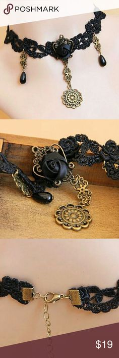 Black Lace Choker Necklace NB20 This gorgeous handmade necklace will add a unique treasure to your closet! Handmade Jewelry Necklaces