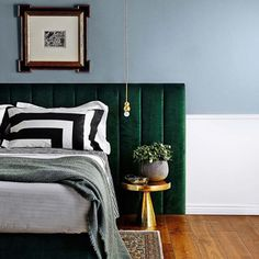 The green and the gold look very rich together with the black and white pillows giving some personality