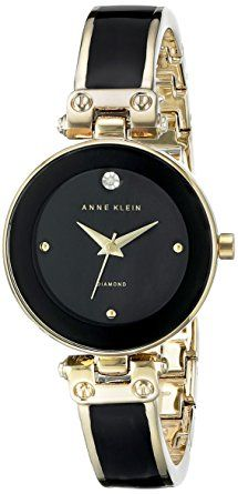 a09c3165e14 Anne Klein Women s Diamond-Accented Dial Black and Gold-Tone Bangle Watch  Cool Watches