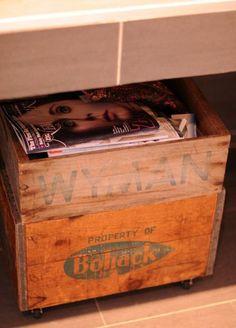 bathroom vintage wood crate with wheels