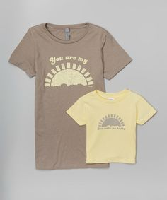 Look at this Little Treetops Stone Gray & Banana Sunshine Tee Set - Toddler & Women on #zulily today!