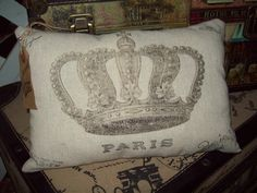 Shabby chic French crown small pillow by JulieannasCreations, $12.00