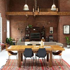 A dreamy brick living space with Real Good Chairs for good measure. Photo via @fvonf | Blu Dot