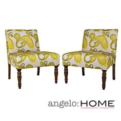 @Overstock - This set of two angelo:HOME Bradstreet armless chairs were designed by Angelo Surmelis. The Bradstreet chairs are covered in a beautiful lemongrass paisley fabric.http://www.overstock.com/Home-Garden/angelo-HOME-Bradstreet-Modern-Lemongrass-Paisley-Upholstered-Armless-Chair-Set-of-2/6385324/product.html?CID=214117 $268.99