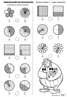 Tres fichas para trabajar la comparación de fracciones, con ayuda gráfica, para colocar los símbolos >, < donde correspondan. Se trata de una actividad en la que aparecen las tres situaciones posibles para ordenar fracciones: las primera con igual denominador, la segunda con igual numerador y la última con distinto … 3rd Grade Fractions, Fractions Worksheets, Printable Math Worksheets, Math Fractions, 4th Grade Math, Preschool Math, Math Classroom, Teaching Math, Math Games