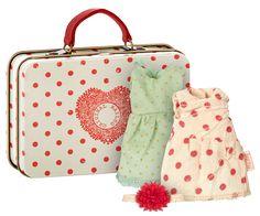 Koffer mit Micro Mädchenkleidern - Corall/mint Punkte