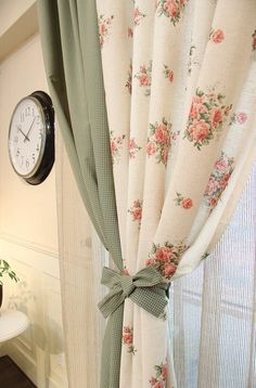 Floral curtains.