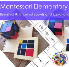 Montessori Binomial & Trinomial Cube Labels and Equations