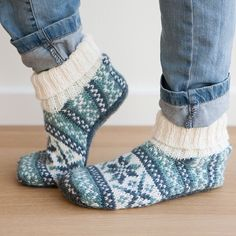 Keep your toes cozy in our Frost Slippers, knit in Wool of the Andes yarn. Download the pattern at KnitPicks.com