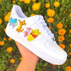 Winnie the Pooh Air Force One by croissantcustoms Air Force One Shoes, Nike Shoes Air Force, Aesthetic Shoes, Hype Shoes, Fresh Shoes, Disney Shoes, Painted Shoes, Sneakers Fashion, Sneakers Nike