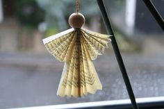 angel ornament- USE CHRISTMAS CAROL MUSIC FOR PAPER