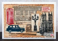 Card by Teresa Abajo using Darkroom Door 'London Vol 2' Rubber Stamps - love the layering!