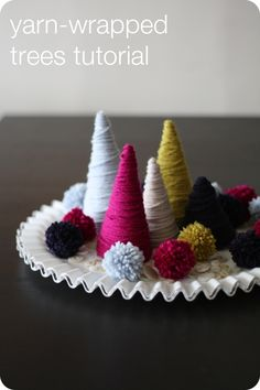 Tutorial: Yarn Wrapped Trees - from One Pearl Button #recycling #crafts #Christmas #winter