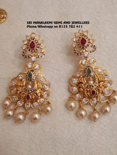Sri Mahalaxmi Gems and Jewellers Contact 092468 89611 Email Gold Jhumka Earrings, Jewelry Design Earrings, Gold Earrings Designs, Gold Jewellery Design, Pendant Jewelry, Gold Necklace, Gold Designs, Quartz Jewelry, Ruby Jewelry