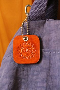Sun Face Bag Charm  Leather Sunface Bag by TinasLeatherCrafts. Repin To Remember.