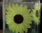 Large wine bottle with sunflowers