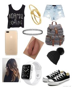 """""""Casual"""" by gervaise-kelly on Polyvore featuring Alexander Wang, Converse, Gorjana, Aéropostale, Black and Apple"""