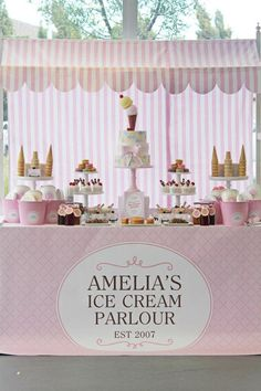 Table set up Ice cream parlor birthday party, shower, sundae theme event Ashley Bryson Ice Cream Stand, Ice Cream Cart, Ice Cream Theme, Ice Cream Parlor, Fourth Birthday, Birthday Parties, Birthday Ideas, Girls Birthday Party Themes, Monkey Birthday