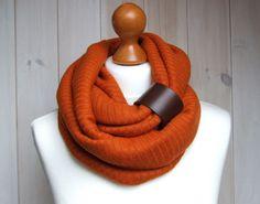 RUST Infinity Fashion Circle Scarf Shawl Loop with leather cuff, orange pumpkin infinity scarves. $29.90, via Etsy.