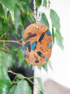 Exotic burl wood and resin necklace and by NatureArtJewellery, $69.00