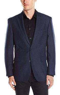 Tommy Hilfiger Men's Gibbs Two Button Check Sport Coat, Blue/Black, 36S ❤ Tommy Hilfiger Tailored
