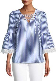 4b2b52cf7781 Neiman Marcus Striped Top w  Lace-Up Front