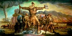 Tragic Prelude, John Steuart Curry's representation of Bleeding Kansas just before the Civil War.  He painted this in the Capitol. Despite some unpopularity when he painted it 70 or 80 years ago, no one's painted over it.