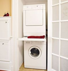 """Outstanding """"laundry room stackable washer and dryer"""" info is readily available on our site. Have a look and you wont be sorry you did. Hidden Laundry Rooms, Laundry Closet, Laundry Room Storage, Laundry Room Design, Closet Storage, Laundry Area, Closet Organization, Storage Shelves, Stackable Washer And Dryer"""