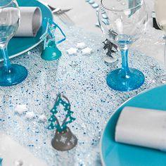 Decoration de table de noel or et bleu