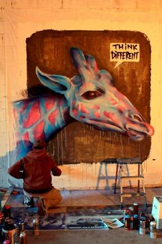 We Love Giraffes! - Think Different#Street Art!