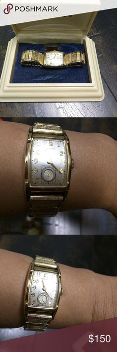 Antique Hamilton watch Stretchable band in 10k GF Hamilton watch.  Self winding.  Doesn't need battery. Other