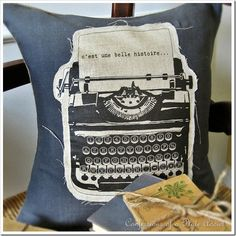 CONFESSIONS OF A PLATE ADDICT: Linen and Burlap...Vintage French Typewriter Pillow