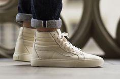Vans CA Cup Leather 'Whisper White' - Kicks Deals - Official Website Basketball Sneakers, Vans Sneakers, High Top Sneakers, Skate Shoes, Men's Shoes, Chicago Fashion, Shops, Sneaker Magazine, Everyday Shoes