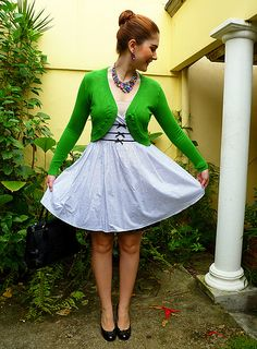 Love the green cardigan over this dress!