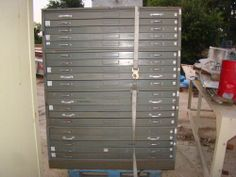 JEBCO GREY VINTAGE ANTIQUE METAL TOOL BOX CABINET MACHINIST WORK 20 DRAWERS