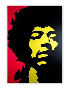 Jimi Hendrix Original Pop Art Portrait Canvas Painting by Dominic Joyce, £150.00