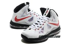 Nike Basketball Lebron 10 Shoes PS White Red Black