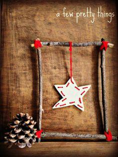 A Few Pretty Things: Rustic Christmas star tutorial, 23 Nov Noel Christmas, Rustic Christmas, Christmas Ornaments, Homemade Christmas, Christmas Lights, Rustic Theme, Rustic Decor, Rustic Outdoor, Rustic Bench