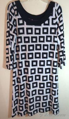 RAFAELLA Modern Dress NWOT Size Small BLACK White 3/4 SLEEVE Geometric Chic JCG #Rafaella #ShirtDress #Clubwear