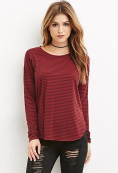 Striped Long Sleeve Tee - Tops - 2000180260 - Forever 21 EU English