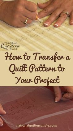 Learn how to transfer a quilt pattern onto your next quilting project using tulle — Kelly Hanson shows you how.