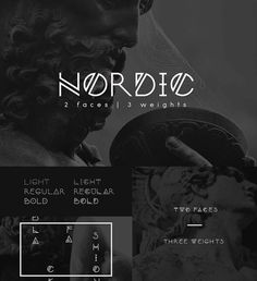 Description: Introducing Nordic - modern font-family based on scandinavian runes and elegant geometric forms that can fit everyday design needs. It's perfect for logos, monograms, titles and posters that need a lot more personality. Free for download. File format: .ttf for Photoshop or other software. File size: 1 Mb.