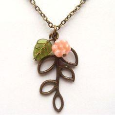 Antiqued Brass Leaf Czech Glass Flower Necklace.