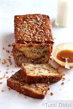 Transform your next loaf of banana bread into a spectacular toffee banana bread…. Transform your next loaf of banana bread into a spectacular toffee banana bread. Featuring a ribbon of toffee bits and tender crumb, this recipe is simple and satisfying! Greek Yogurt Banana Bread, Banana Bread Cake, Gluten Free Banana Bread, Vegan Banana Bread, Easy Banana Bread, Loaf Cake, Quick Bread, Banana Cakes, Pound Cake